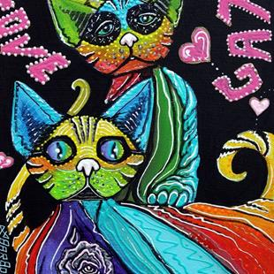 Art: Love Cats by Artist Laura Barbosa