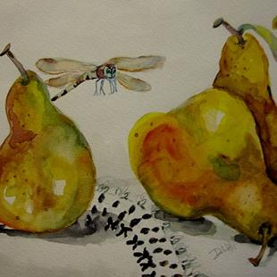 Art: Pears and Dragonfly by Artist Delilah Smith