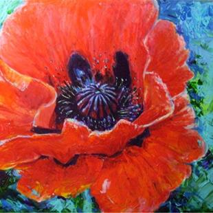 Art: Single Red Poppy by Artist Ulrike 'Ricky' Martin
