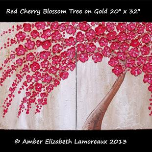 Art: Red Cherry Blossom Tree on Gold (sold) by Artist Amber Elizabeth Lamoreaux