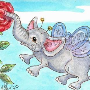 Art: Elephant Fairy Fly at Cafe Rose by Artist Kim Loberg