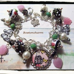 Art: Butterflies Altered art charm bracelet ooak handmade by Artist Lisa  Wiktorek