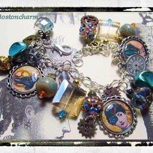 Art: Steampunk Altered art charm bracelet handmade ooak by Artist Lisa  Wiktorek