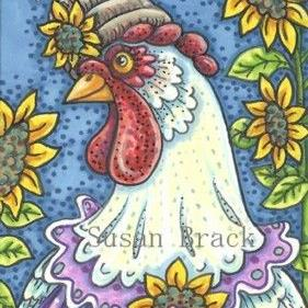 Art: BEEHIVE AND SUNFLOWER HEN by Artist Susan Brack
