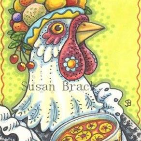 Art: FRUIT SALAD HEN by Artist Susan Brack