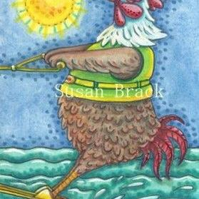 Art: ROOSTER ON WATER by Artist Susan Brack
