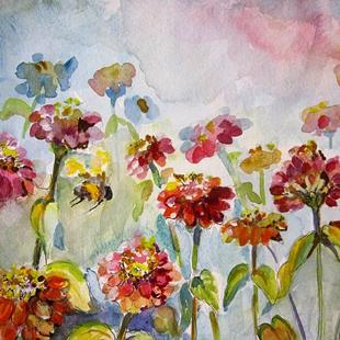 Art: Zinnias and Bumble Bees by Artist Delilah Smith