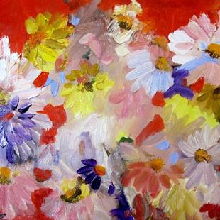 Art: Abstract Floral on Red-sold by Artist Delilah Smith