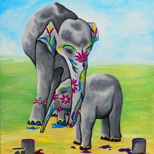 Art: Kestra's Elephants (SOLD) by Artist Monique Morin Matson