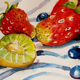 Art: Kiwi and Berries by Artist Delilah Smith