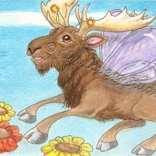 Art: Moose Fly in Flight by Artist Kim Loberg