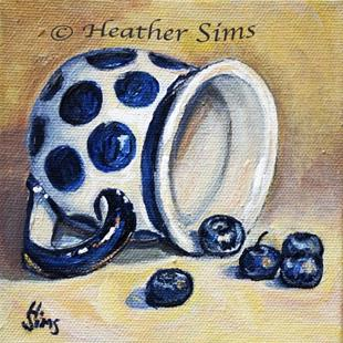 Art: Blueberries: Polish Pottery LXVI by Artist Heather Sims