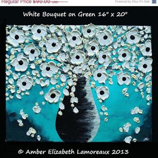 Art: White Bouquet on Green (sold) by Artist Amber Elizabeth Lamoreaux