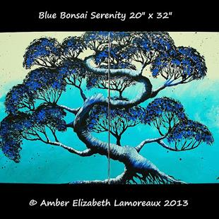 Art: Blue Bonsai Serenity (sold) by Artist Amber Elizabeth Lamoreaux