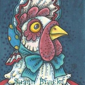 Art: BORN IN THE USA HEN by Artist Susan Brack