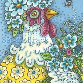 Art: FLOWER POWER HEN by Artist Susan Brack