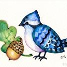 Art: Happy Little Blue Jay ACEO by Artist Carmen Medlin