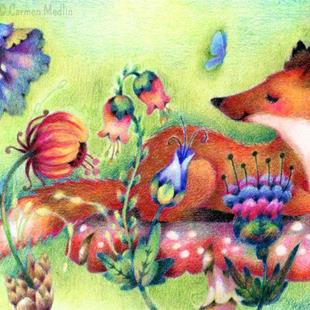 Art: Fox on a Mushroom - Available by Artist Carmen Medlin