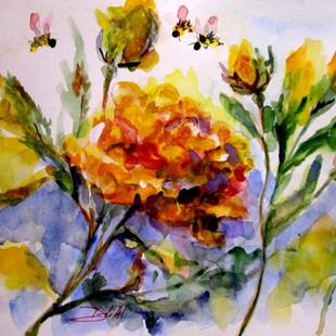 Art: Yellow Rose and Bee-sold by Artist Delilah Smith
