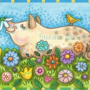 Art: PIG AND POSIES by Artist Susan Brack