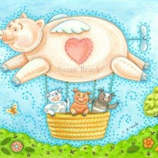 Art: THREE PIGS BALLOON RIDE by Artist Susan Brack
