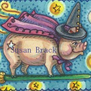 Art: WHEN PIGS FLY - Witch by Artist Susan Brack
