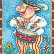 Art: PIG PATRIOT by Artist Susan Brack