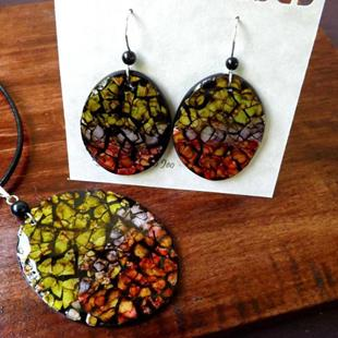 Art: Red Pepper Purple Lime Oval Eggshell Mosaic Earrings Pendant by Artist So Jeo LeBlond