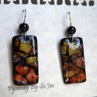 Art: Red Pepper Purple Lime Rectangle Eggshell Mosaic Earrings by Artist So Jeo LeBlond