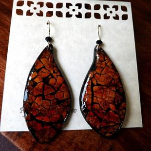 Art: Rust Leaf Eggshell Mosaic Earrings by Artist So Jeo LeBlond