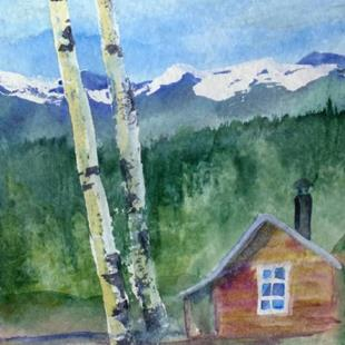 Art: At the Cabin (sold) by Artist Kathy Crawshay