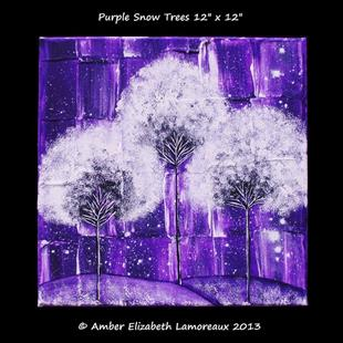 Art: Purple Snow Trees (sold) by Artist Amber Elizabeth Lamoreaux