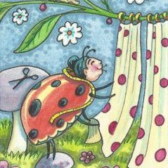 Art: HANGING LADYBUG CURTAINS by Artist Susan Brack