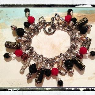 Art: Vampires Altered art charm bracelet by Artist Lisa  Wiktorek