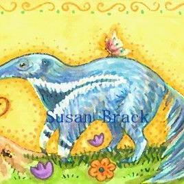 Art: GALLOPING BLUE ANTEATER by Artist Susan Brack