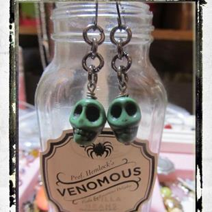 Art: Skull Halloween Earrings ooak by Artist Lisa  Wiktorek