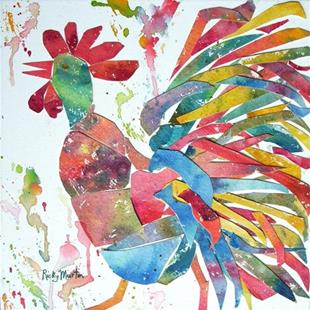 Art: Folk Rooster Collage by Artist Ulrike 'Ricky' Martin