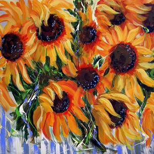 Art: Sunflowers on Picked Fence by Artist Diane Funderburg Deam