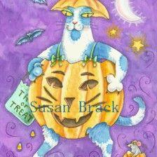 Art: Hiss N' Fitz - HALLOWS EVE PUMPKIN CAT by Artist Susan Brack