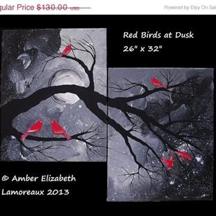 Art: Red Birds at Dusk (sold) by Artist Amber Elizabeth Lamoreaux
