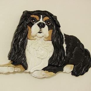 Art: Cavalier King Charles.Charlie Original Painted Intarsia Art by Artist Gina Stern