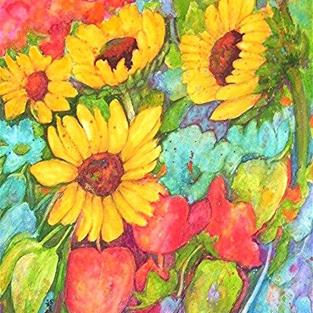 Art: Colorful Sun Flowers by Artist Ulrike 'Ricky' Martin