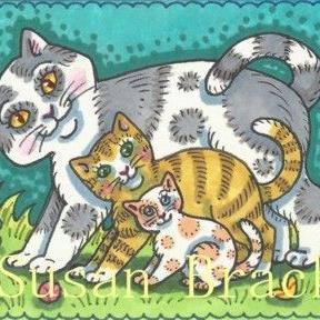 Art: STAIR STEP KITTENS by Artist Susan Brack