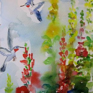 Art: Hollyhocks and Hummingbirds by Artist Delilah Smith