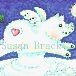 Art: FLYING SNOW PIG by Artist Susan Brack