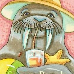 Art: WALRUS ON THE BEACH by Artist Susan Brack