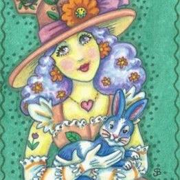 Art: SPRING WITCH AND HER MAGIC MARCH HARE by Artist Susan Brack
