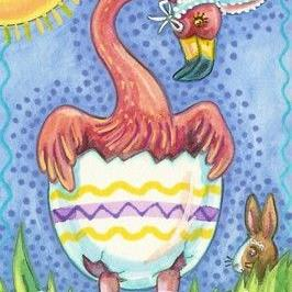 Art: PETER THE EASTER FLAMINGO by Artist Susan Brack