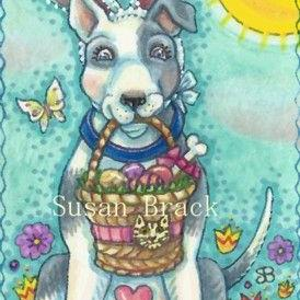 Art: BOW WOW EASTER BASKET by Artist Susan Brack
