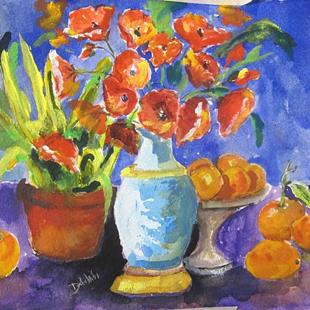 Art: Poppies and Orange-SOLD by Artist Delilah Smith